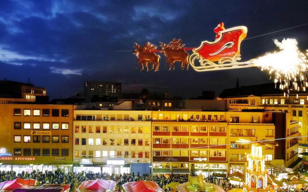 De vliegende Kerstman op de Bochumse Kerstmarkt